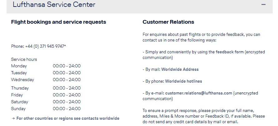 Lufthansa Customer Contact