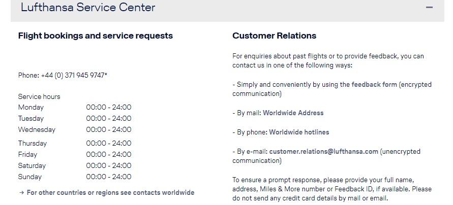 Lufthansa Customer Contact